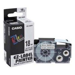 Casio oryginalna taśma do drukarek etykiet. Casio. XR-18SR1. czarny druk/srebrny podkład. 18mm