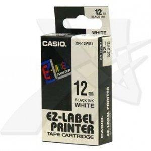 Casio oryginalna taśma do drukarek etykiet. Casio. XR-12WE1. czarny druk/biały podkład. nielaminowany. 8m. 12mm XR-12WE1