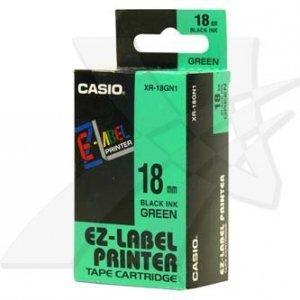 Casio oryginalna taśma do drukarek etykiet. Casio. XR-18GN1. czarny druk/zielony podkład. nielaminowany. 8m. 18mm XR-18GN1