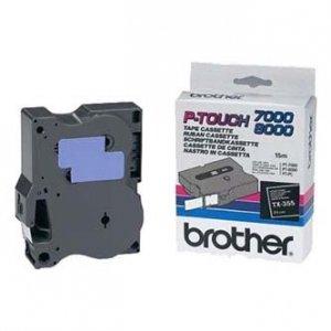 Brother oryginalna taśma do drukarek etykiet. Brother. TX-355. biały druk/czarny podkład. laminowane. 8m. 24mm TX355