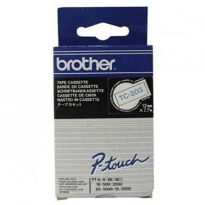 Brother oryginalna taśma do drukarek etykiet. Brother. TC-203. niebieski druk/biały podkład. laminowane. 7.7m. 12mm TC203