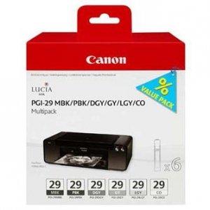 Canon oryginalny wkład atramentowy / tusz PGI-29 MBK/PBK/DGY/GY/LGY/CO Multi pack. black/color. 4868B018. Canon Pixma Pro 1 4868B018