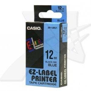 Casio oryginalna taśma do drukarek etykiet. Casio. XR-12BU1. czarny druk/niebieski podkład. nielaminowany. 8m. 12mm XR-12BU1