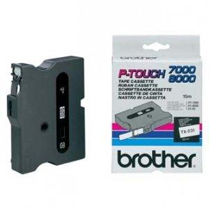 Brother oryginalna taśma do drukarek etykiet. Brother. TX-231. czarny druk/biały podkład. laminowane. 8m. 12mm TX231