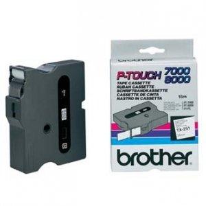 Brother oryginalna taśma do drukarek etykiet. Brother. TX-251. czarny druk/biały podkład. laminowane. 8m. 24mm TX251