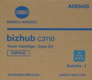 Konica Minolta oryginalny toner A0X5455. cyan. 5000s. TNP-51C. Konica Minolta Bizhub C3110 A0X5455