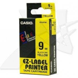 Casio oryginalna taśma do drukarek etykiet. Casio. XR-9YW1. czarny druk/żółty podkład. nielaminowany. 8m. 9mm XR-9YW1