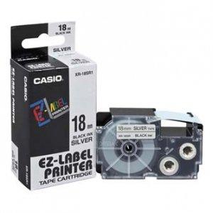 Casio oryginalna taśma do drukarek etykiet. Casio. XR-18SR1. czarny druk/srebrny podkład. 18mm XR-18SR1