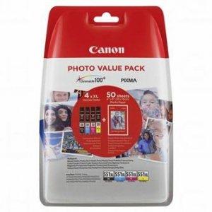 Canon oryginalny ink 6443B006, CLI-551XL C/M/Y/BK Photo Value Pack, CMYK, blistr, Canon Pixma iP7250,iP8750,iX6850,MG5450,MG5550,M 6443B006