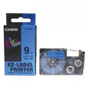 Casio oryginalna taśma do drukarek etykiet. Casio. XR-9BU1. czarny druk/niebieski podkład. nielaminowany. 8m. 9mm XR-9BU1