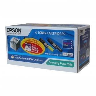 Epson oryginalny toner C13S050268. CMYK. 4000/1500s. Epson AcuLaser C1100. 1100N. CX11N. 11NF. 11NFC C13S050268
