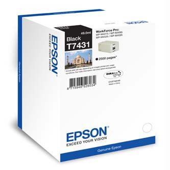 Epson oryginalny wkład atramentowy / tusz C13T74314010. black. 2500s. 49ml. Epson WorkForce Pro WP-M4525 DNF. WP-M4015 DN C13T74314010