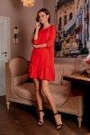 Klasyczna sukienka z falbanką L272 czerwony