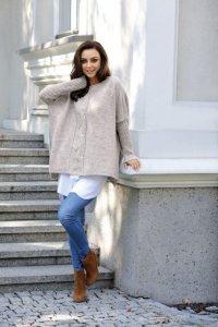 Modny sweter poncho LS240 jasnoszary