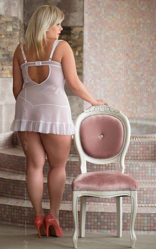 Bianca 1818 - Plus Size - white koszulka i stringi