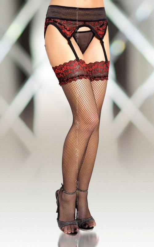 Stockings 5536 - black pończochy z pasem