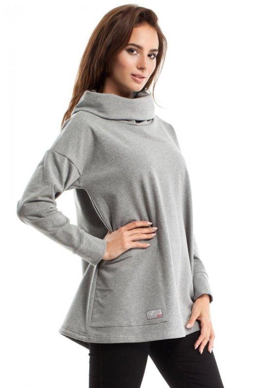 MOE260 Bluza oversize z kominem i kieszenią szara