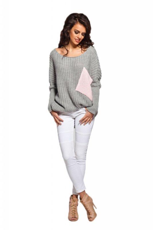 LS166 Sweter oversize z kieszenią jasnoszary-pudrowy róż