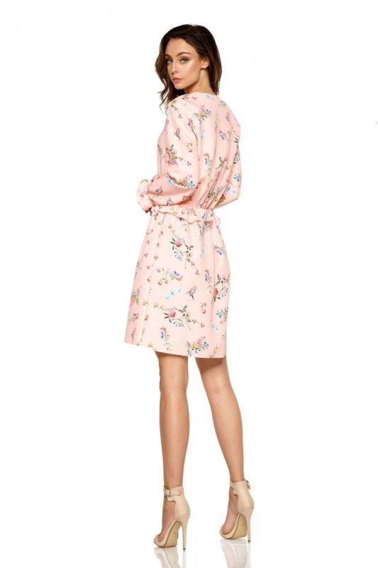 Dziewczęca sukienka we wzory L275 pudrowy róż w kwiatki
