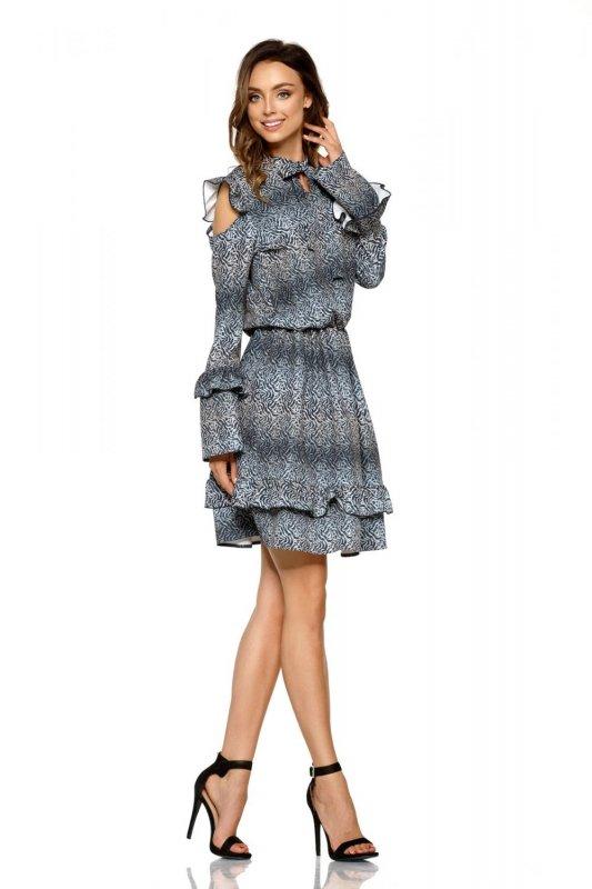 Modna sukienka z wyciętymi ramionami L276 listki