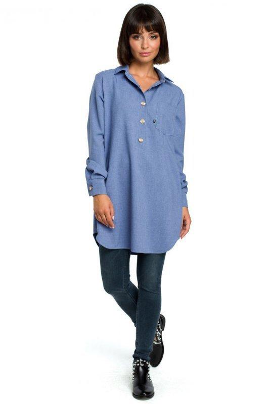 B086 Tunika koszulowa - niebieska