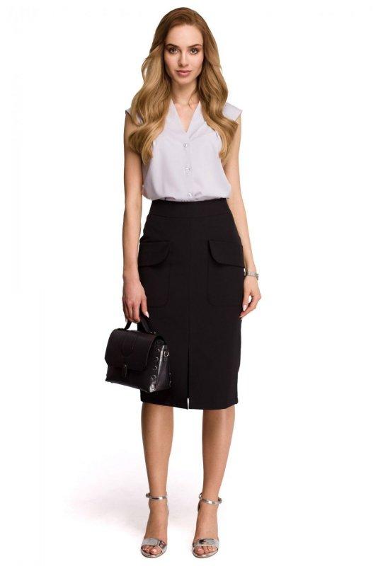 S103 Spódnica z kieszeniami z przodu - czarna