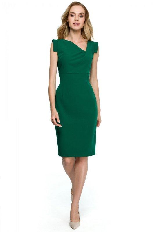 S121 Sukienka z asymetrycznym dekoltem - zielona