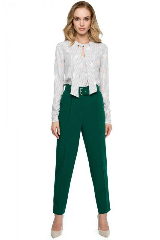 S124 Spodnie z wysokim stanem i paskiem - zielone