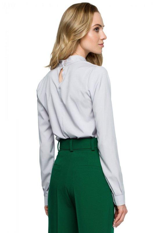 S126 Bluzka z supełkiem pod szyją - szara