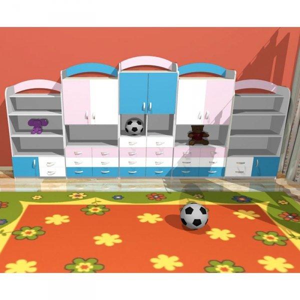 zestaw mebli przedszkolnych,zestaw mebli kolorowych,zestaw mebli do żłobka,meble do żłobka,meble przedszkolne,szafki z szufladami