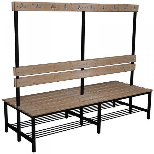 ławka szatniowo korytarzowa z półką na buty premium 2-str. z oparciem i wieszakiem 1,5; 1,8m; 2,0m