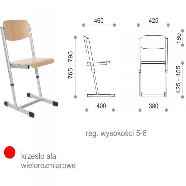 krzesło szkolne ala z regulacją wysokości, krzesło szkolne ala, krzesło ala, krzesło reks, krzesło ala wielorozmiarowe