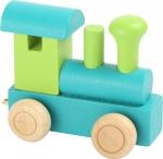 SMALL FOOT Drewniana Lokomotywa dla dzieci (zielono niebieska)