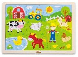 Viga 50197 Puzzle na podkładce 24 elementy - farma