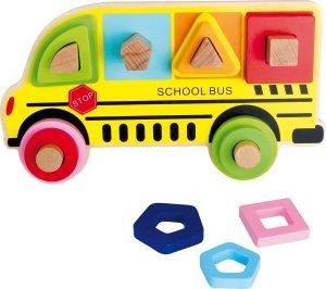 SMALL FOOT Plug Puzzle Shapes School Bus - drewniane puzzle z sorterem kształtów Autobus