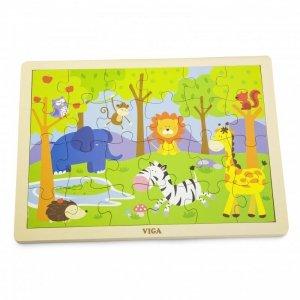 VIGA Drewniane Puzzle Safari 24 Elementy