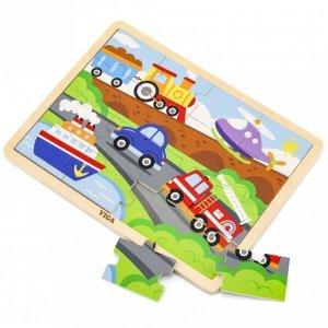 VIGA Drewniane Puzzle Pojazdy 16 elementów