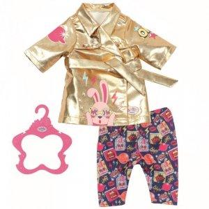 Baby Born Urodzinowy Zestaw Ubranek Złoty Płaszczyk i Spodenki dla Lalki 43 cm
