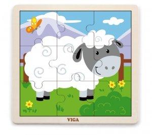 Viga 51437 Puzzle na podkładce 9 elementów - owieczka