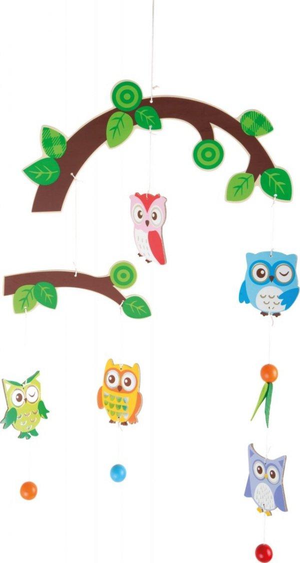 SMALL FOOT Owl Mobile - karuzela z kolorowymi sowami
