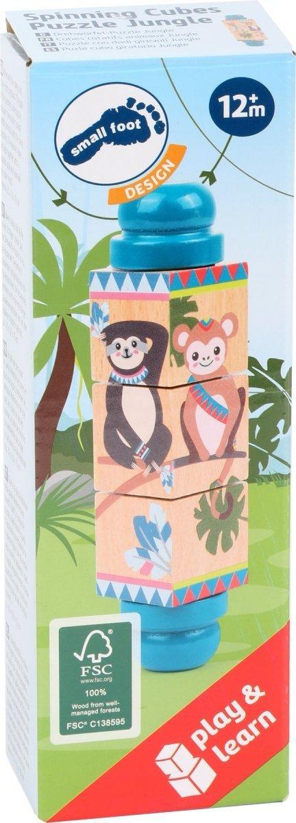 "SMALL FOOT Spinning Cubes Puzzle ""Jungle"" - obracające kostki - puzzle (dżungla)"