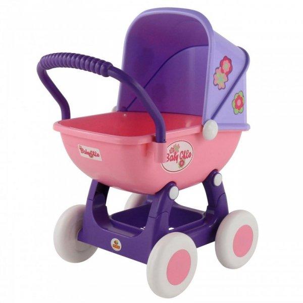 Duży wózek gondola dla lalek 43cm Wader QT Arina fioletowo różowy