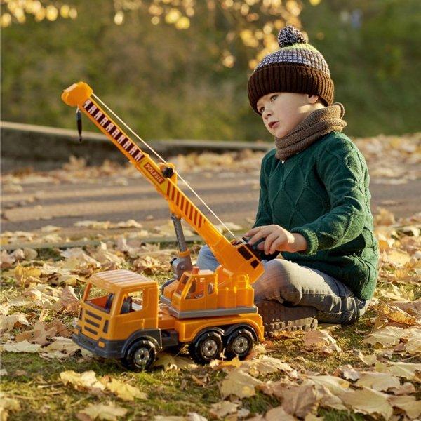 WADER Dźwig Budowlany Auto Ciężarówka + Pachołki