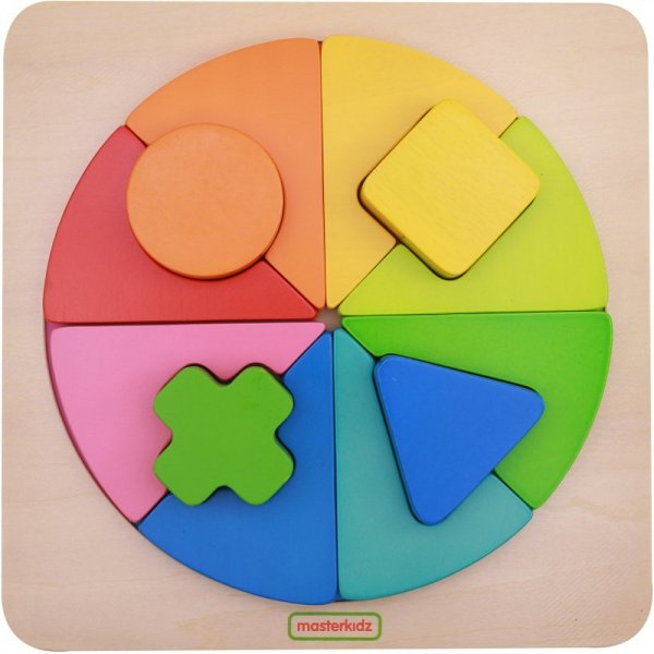 Kolorowa Drewniana Układanka Geometryczna Puzzle Masterkidz