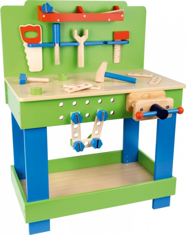 SMALL FOOT Drewniany Stół z Narzędziami - Warsztat dla Dzieci