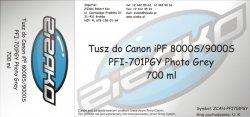 Tusz zamiennik Yvesso PFI-701PGY Photo Grey 700ml do Canon iPF8000S iPF9000S CF0910B001AA