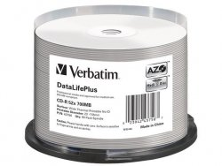 Verbatim CDR 700MB DL+ AZO Thermal printable medi disc (Cake 50) NO ID