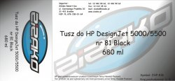 Tusz zamiennik Yvesso nr 81 do HP Designjet 5000/5500 680 ml Black C4930A