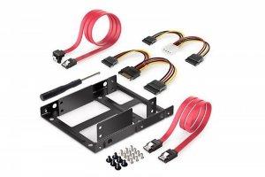 Digitus Ramka montażowa/Adapter SSD/HDD 2x 2.5 do 3.5 (ATA, SATA, SSD) metalowa ,zestaw z kablami, czarna