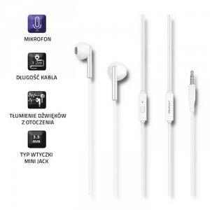 Qoltec Słuchawki douszne   mikrofon   białe